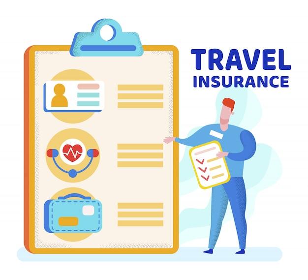 Plakat informacyjny to pisemne ubezpieczenie podróżne.