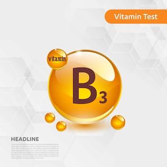 Plakat informacyjny z testu witaminy b3 z szablonem tekstowym