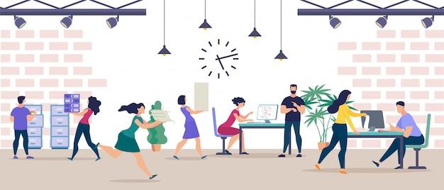 Plakat informacyjny zespół animowany dużego biura.