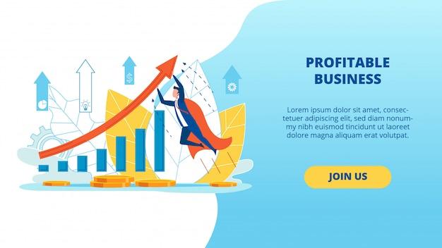 Plakat informacyjny zyskowny napis biznesowy