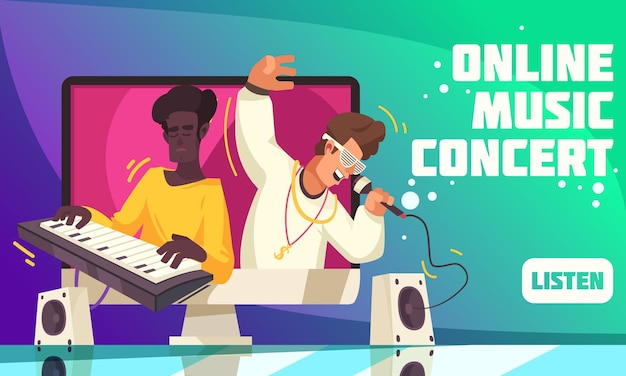 Plakat internetowy z koncertem muzyki współczesnej online z przyciskiem słuchania i popularnym modnym zespołem muzycznym