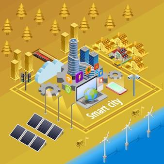 Plakat izometryczny inteligentnej infrastruktury internetowej miasta