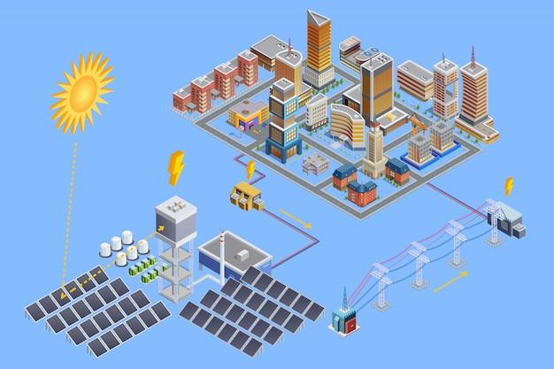 Plakat izometryczny stacji słonecznej