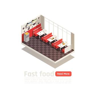 Plakat izometryczny wnętrze restauracji fast food przytulny jadalnia ze stołami krzesła i monitory menu