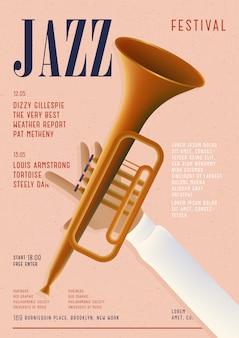 Plakat jazzowy. szablon afiszu z koncertu muzycznego.