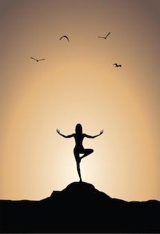 Plakat jogi o zachodzie słońca na jasnym tle