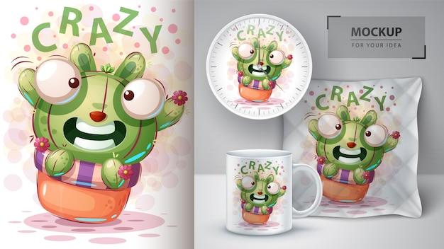 Plakat kaktusa królika i merchandising
