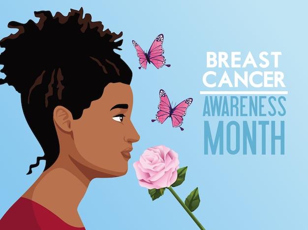 Plakat kampanii miesiąca świadomości raka piersi z kobietą afro i motylami