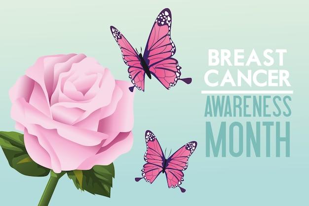Plakat kampanii miesiąca świadomości raka piersi z motylami i różą
