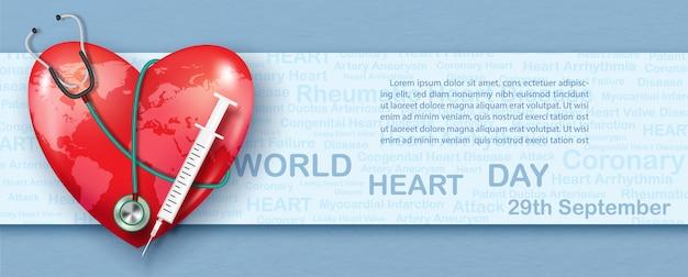 Plakat kampanii światowego dnia serca w stylu 3d i projekt banera wektorowego