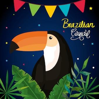 Plakat karnawałowego brazylijczyka z tukanem i liśćmi tropikalnymi