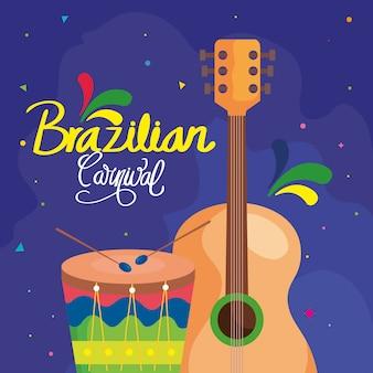 Plakat karnawałowej brazylii z gitarą i bębnem