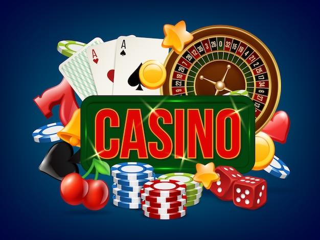 Plakat kasynowy. reklama szablonu gry w kości do gry w pokera w kręgle i innych
