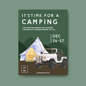 Plakat kempingowy z ilustracjami namiotów, samochodów i gór