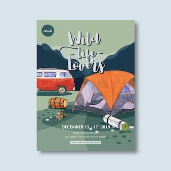 Plakat kempingowy z ilustracjami namiotów, wiader, furgonetek i gór