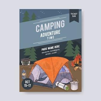 Plakat kempingowy z ilustracjami namiotu, furgonetki, latarni i grilla