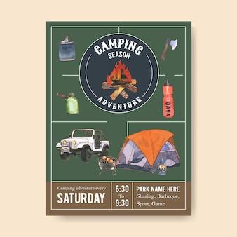Plakat kempingowy z ilustracjami siekiery, ogniska, samochodu i pieca do grillowania