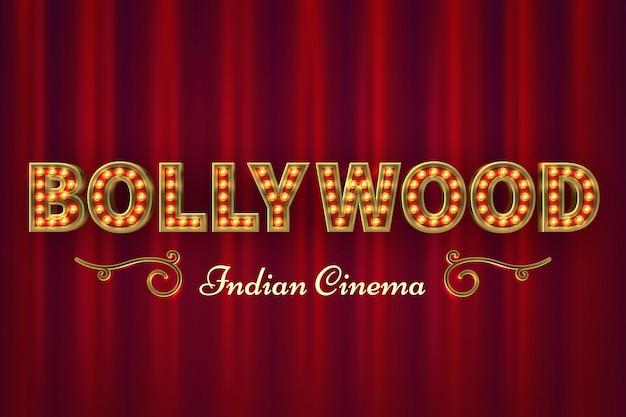 Plakat kinowy bollywood. vintage indyjski klasyczny film z czerwonymi zasłonami