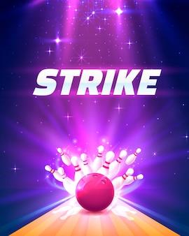 Plakat klubu kręgielni strajk z jasnym tłem. ilustracja wektorowa