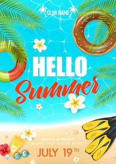 Plakat klubu wakacyjnego na plaży letniej