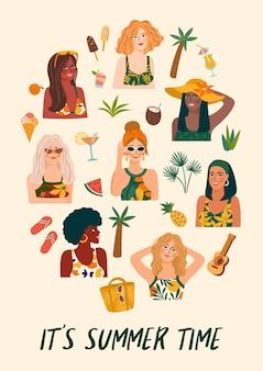 Plakat kobiet w stroju kąpielowym na tropikalnej plaży.