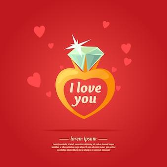 Plakat kocham cię. pierścionek z diamentem w stylu kreskówki.