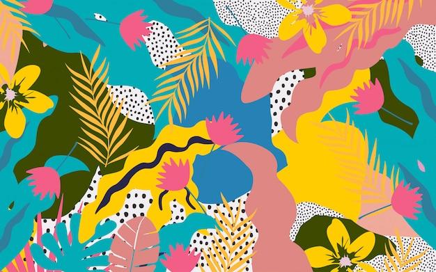 Plakat kolorowe kwiaty i liście