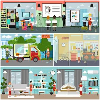Plakat komercyjnych usług sprzątania, zestaw bannerów