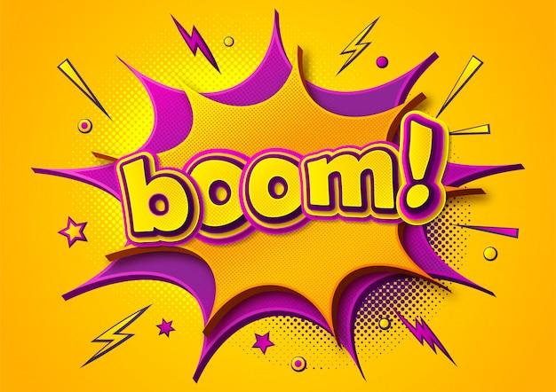 Plakat komiksów boom. komiksowe bąbelki myślowe i efekty dźwiękowe. żółto-fioletowy transparent w stylu pop-art
