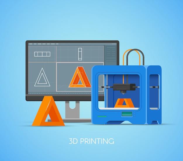 Plakat koncepcja drukowania 3d w stylu płaski. elementy projektu i ikony. drukarka przemysłowa 3d drukuje obiekty z modelu komputera.