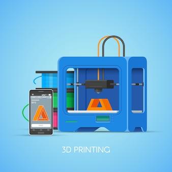 Plakat koncepcja drukowania 3d w stylu płaski. elementy projektu i ikony. drukarki przemysłowe 3d drukują obiekty ze smartfona.