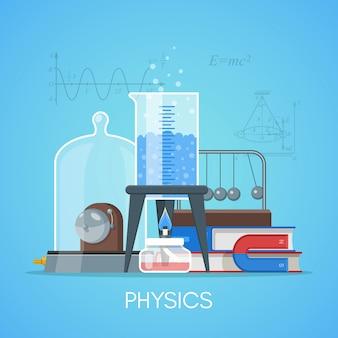 Plakat koncepcja edukacji fizyki nauka w stylu płaski.