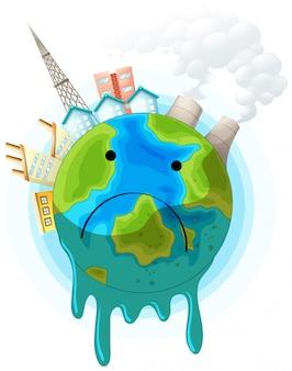 Plakat koncepcja smutny ziemi