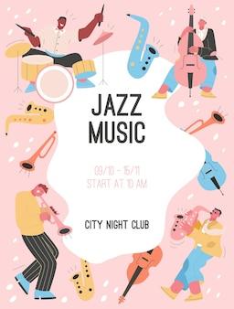 Plakat koncepcji jazz music at city night club