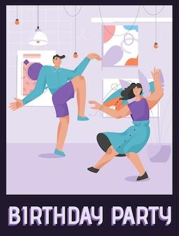 Plakat koncepcji przyjęcia urodzinowego. szczęśliwi przyjaciele tańczą w domu
