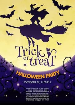 Plakat koncepcyjny halloween i cukierek albo psikus z wiedźmą leci na miotle przed pełnią księżyca
