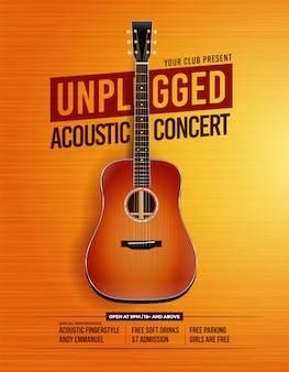 Plakat koncertowy z odłączoną gitarą akustyczną