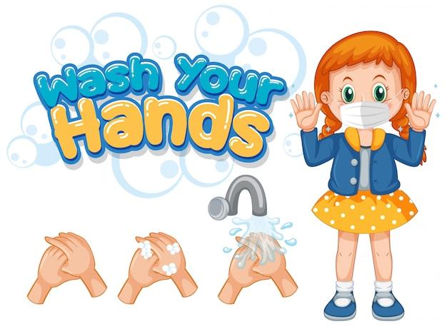 Plakat koronawirusa do mycia rąk z dziewczyną noszącą maskę