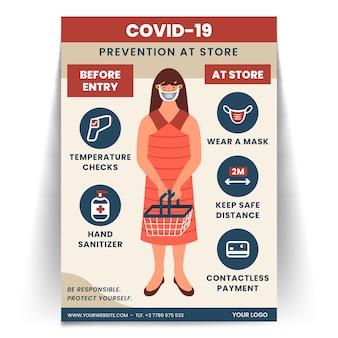 Plakat koronawirusa do sklepu
