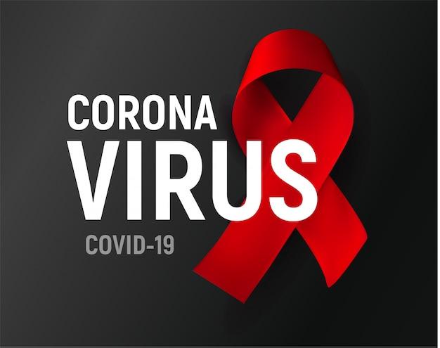 Plakat koronawirusa, symbol czerwoną wstążką