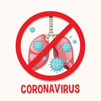 Plakat koronawirusa z komórką wirusa