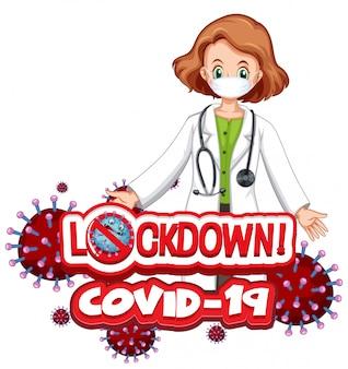 Plakat koronawirusa ze słowem i lekarz noszenie maski