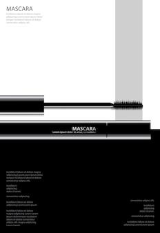Plakat kosmetyczny tusz do rzęs z ilustracji wektorowych opakowań