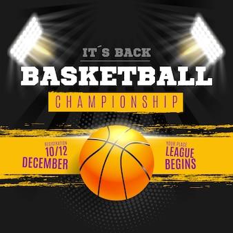 Plakat koszykówki z oświetleniem stadionu