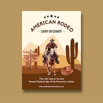 Plakat kowbojski z amerykańskim rodeo