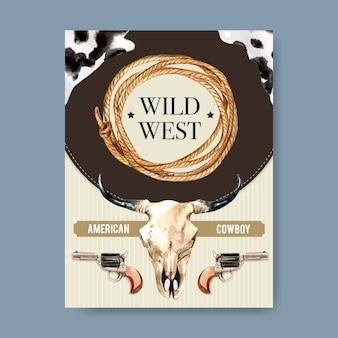 Plakat kowbojski z czaszką krowy, rewolwer