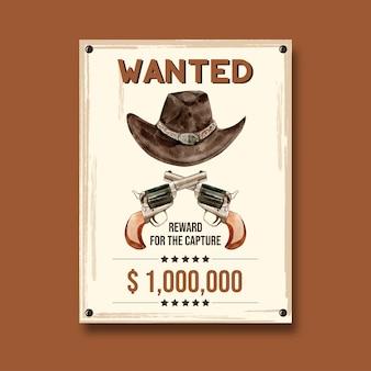 Plakat kowbojski z kapeluszem i pistoletem