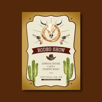 Plakat kowbojski z krowią czaszką, kaktusem, kapeluszem
