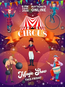 Plakat kreskówka pokaz cyrku chapiteau