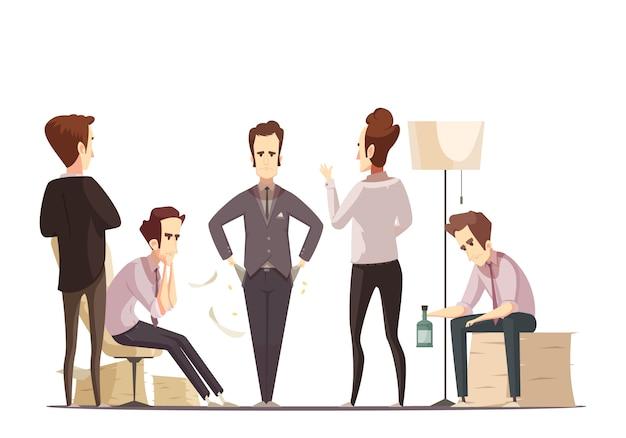 Plakat kreskówka retro awarii biznesowych